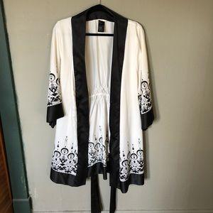 Black & White Silk Robe